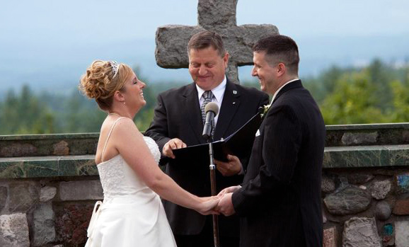 Reverend Ernie With Heather And Loren At Their Wedding Cathedral Of The Pines In Rindge